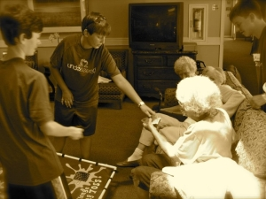 The residents get sporty with a game of bags